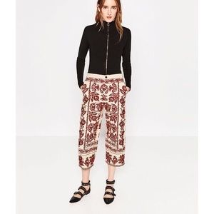 NWT Zara Embroidered Wise Leg Culottes Red Details